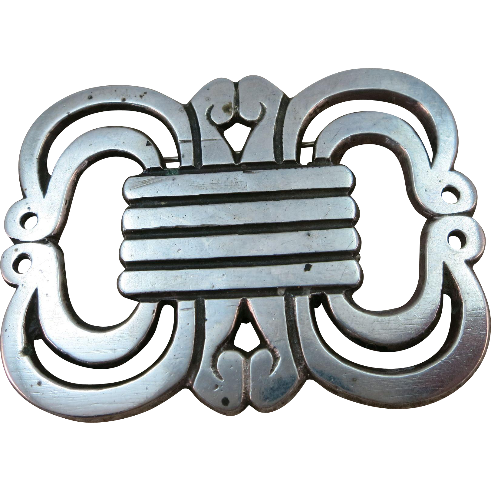 VINTAGE 30's or 40's Signed Casa Prieto Ave Juarez  Abstract Open Work Sterling Large Brooch