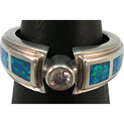 VINTAGE Unusual Indian-made Ring Cz and Lab-created Opal  Snug Size 6