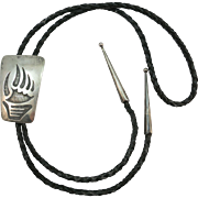 VINTAGE Hopi Made  Sterling  Bear Claw Bolo
