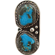 VINTAGE Older Sterling Ring with Two Large Turquoise Sets  Size 6