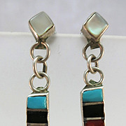 VINTAGE Zuni Made  Pierce Sterling Earring of Many Colors  1 1/2 Inch