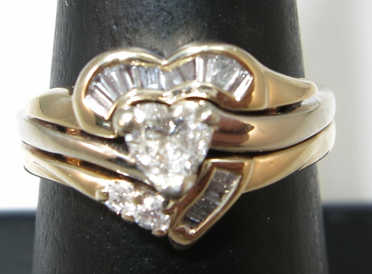 VINTAGE 14K Heart Shape Diamond and More Diamonds Wedding Set  Snug 6 Size
