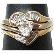 VINTAGE 14K Heart Shape Diamond and More Diamonds Wedding Set  Snug 6 Size