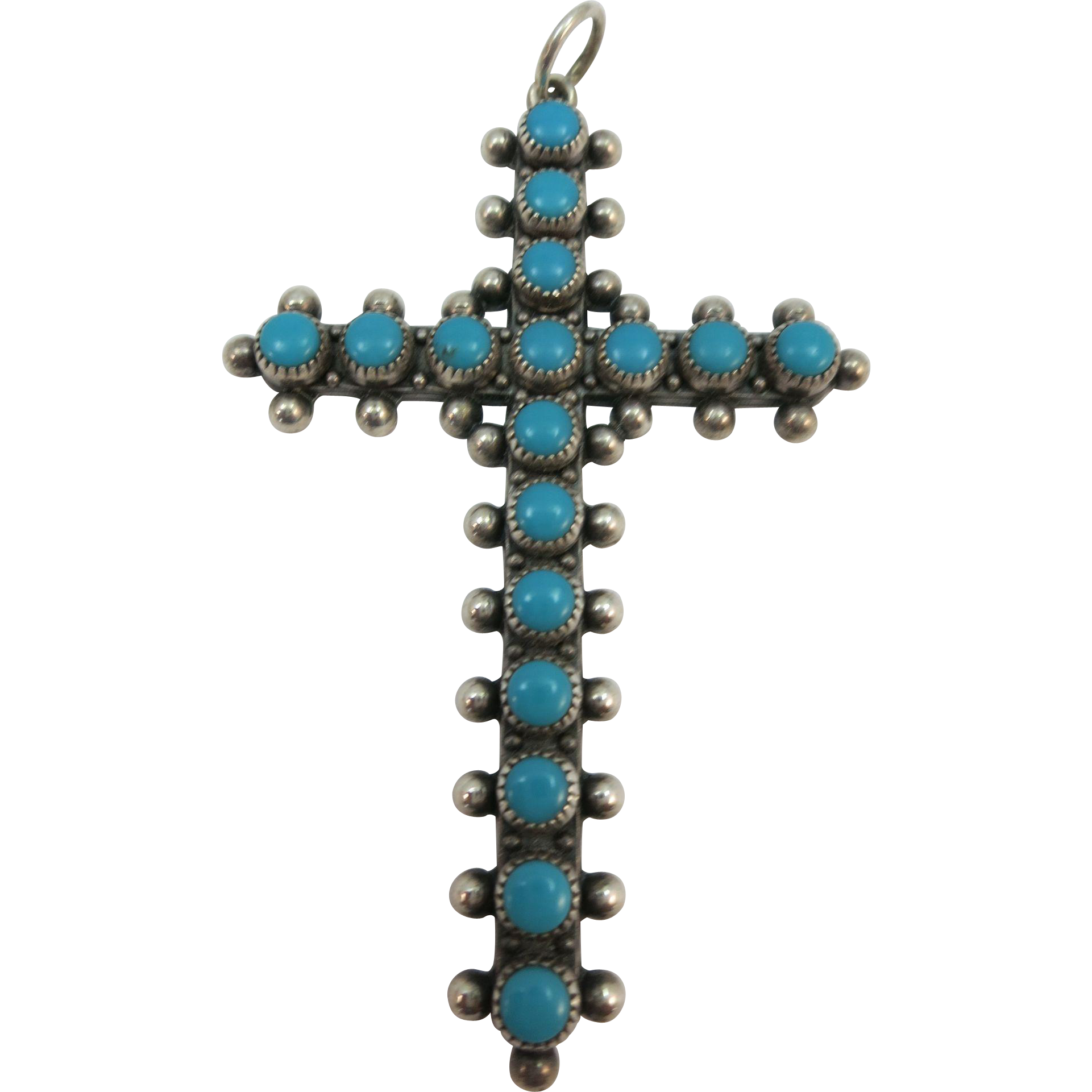 VINTAGE Sterling Large Zuni Made Turquoise Cross 2 1/2 Inches