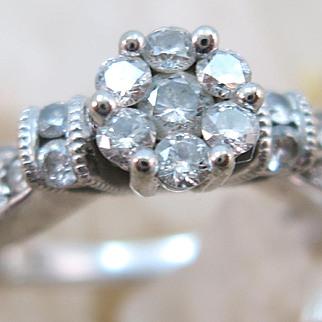 VINTAGE  10k  White Gold Cluster of Diamonds Ring  Size 7