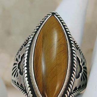 VINTAGE Tiger Eye Sterling Ring  Size 11
