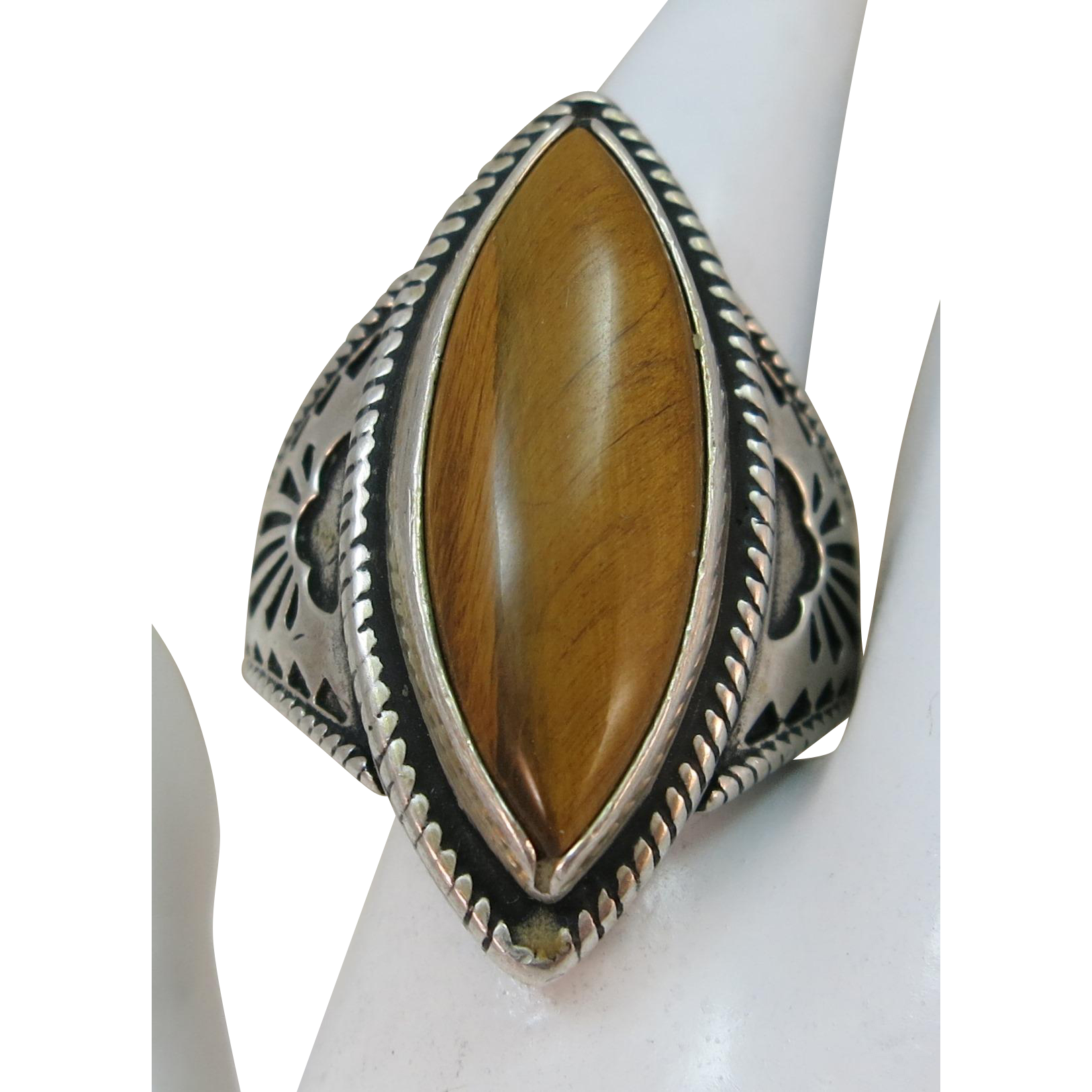 VINTAGE Tiger Eye Sterling Ring  Size 11