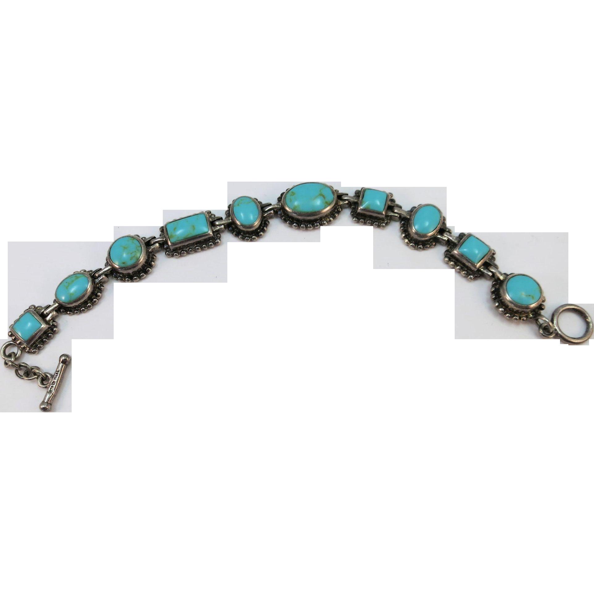 VINTAGE Sterling Turquoise Chunks Bracelet  7 1/2 Inch