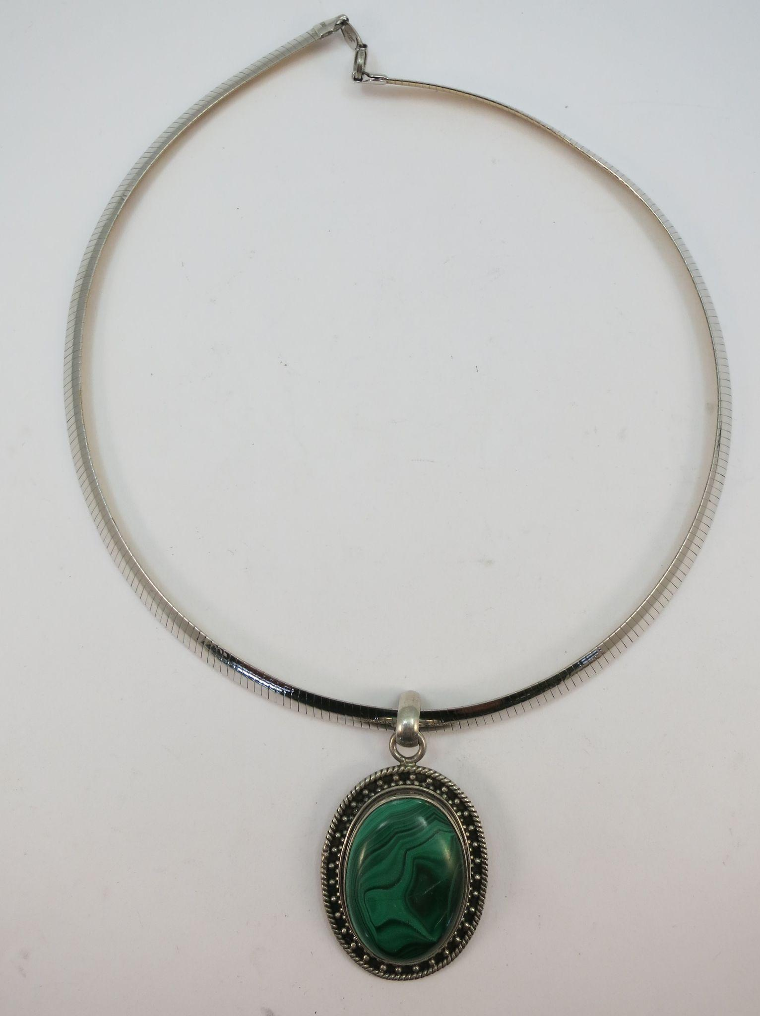 VINTAGE Reversible Silver and Gold Clad Omega Necklace with Malachite Pendant