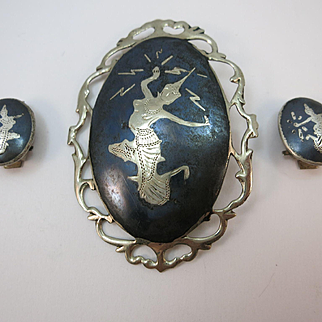 VINTAGE Brooch and Earrings from Sterling Niello Wear Brooch and Earrings  Siam