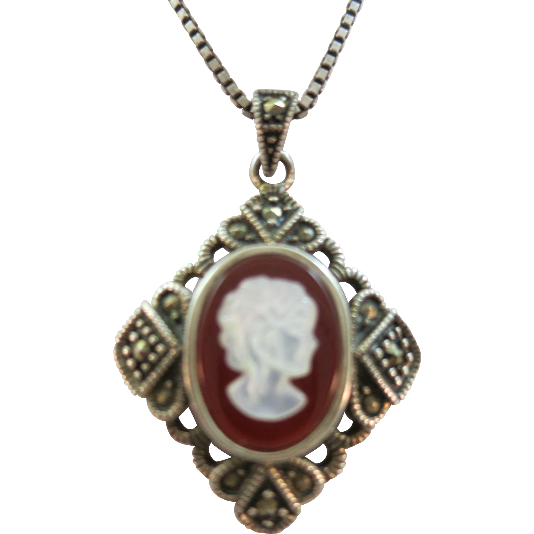 VINTAGE Maricisite Square with Cameo and 22 Inch Box Sterling Chain