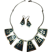 VINTAGE  Sterling Made in Mexico Turquoise Chip Necklace and Earrings