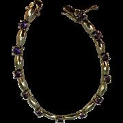 VINTAGE Sterling With Amethyst Sets Bracelet 7 1/2 Inch Length