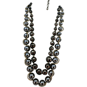 VINTAGE Chico's  Two Strands of Big Pearl Like Beads  Steel Colored 22 Inch Long