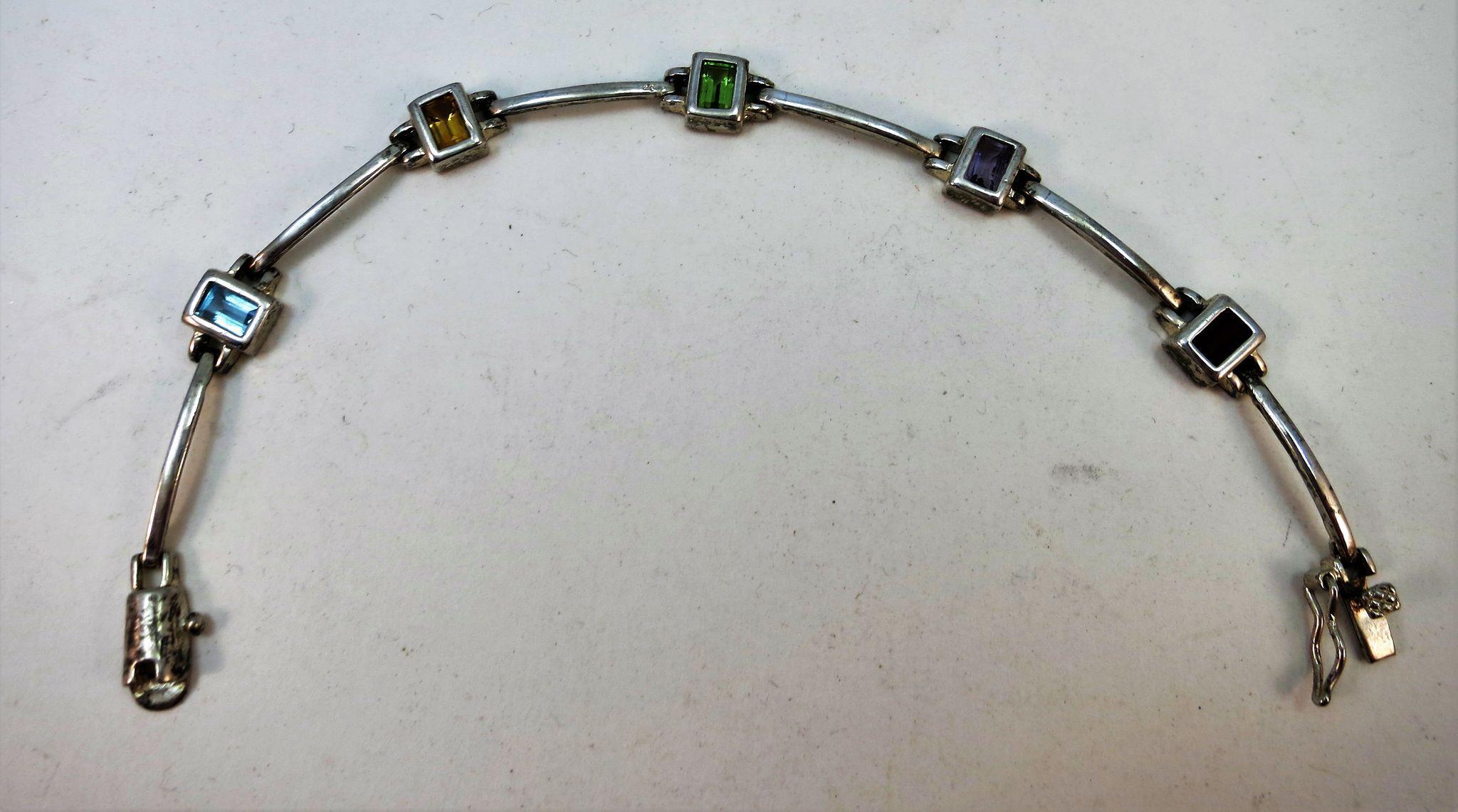 VINTAGE Sterling Arch Link with Gems Beautiful Bracelet