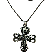 VINTAGE Cross with flowers, birds, and Etc One Inch Square