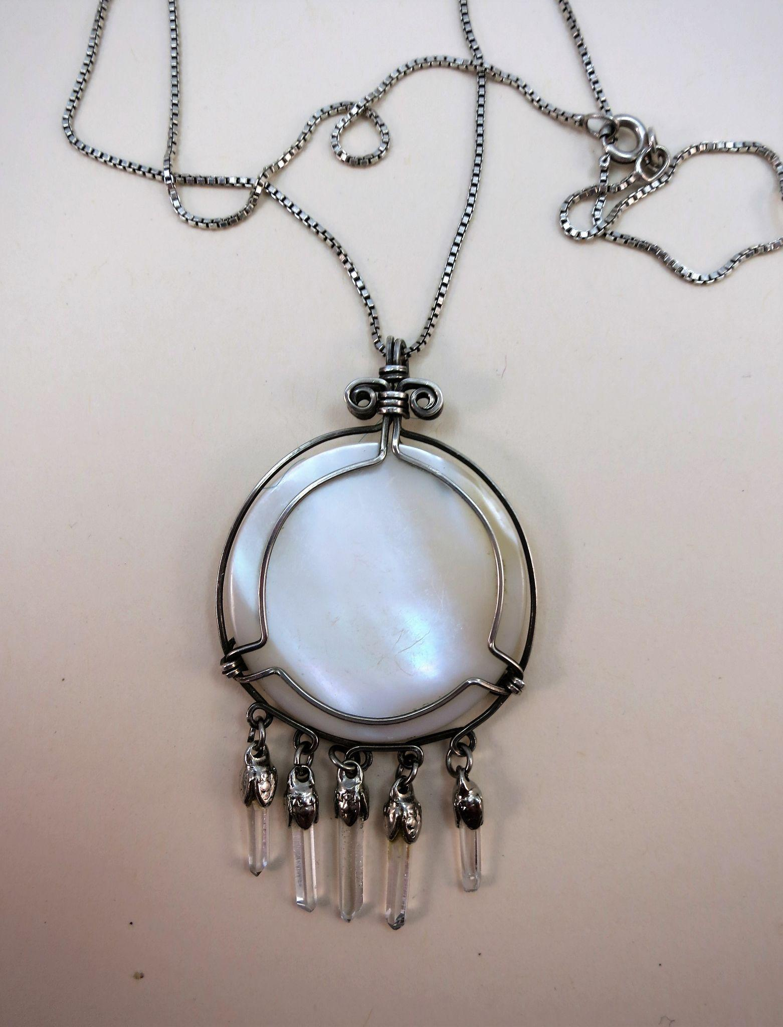 VINTAGE Mother of Pearl Pendant with Sterling and Quartz Endings  Necklace Chain 16 inch Chain