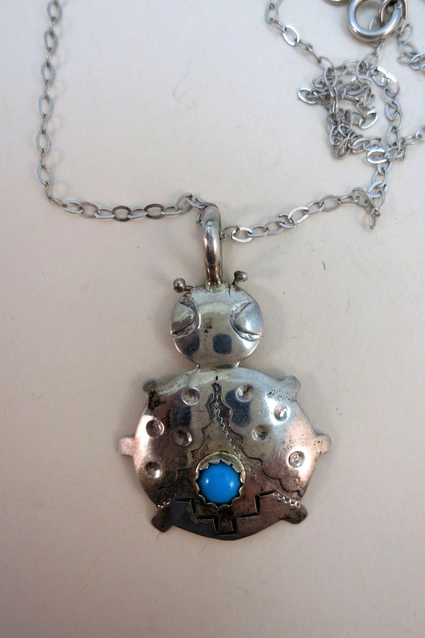 VINTAGE Sterling Little Bear with Turquoise Set  18 Inch Sterling Chain