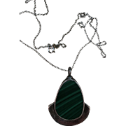VINTAGE Hand-made Malachite Pendant and Sterling Chain