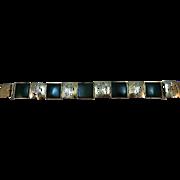 VINTAGE Vermeil Jade-like Link  7 Inch Bracelet Very Classic