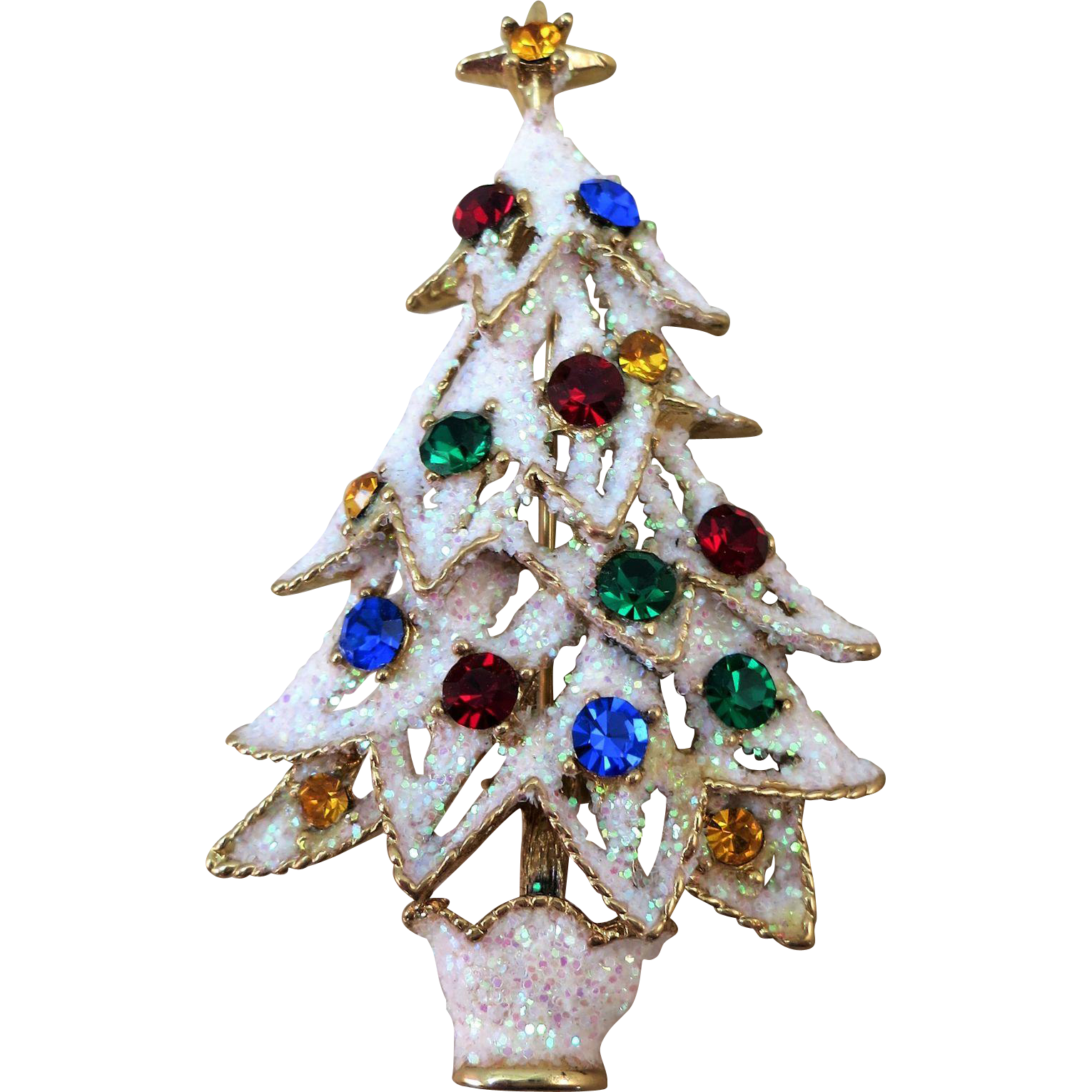 VINTAGE  Snow Covered Eisenburg Ice Christmas Tree Brooch