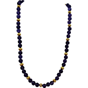 VINTAGE Real Polished Amethyst Beads with 14K Beads and Closure  Beautiful Necklace  19 1/2 Inches