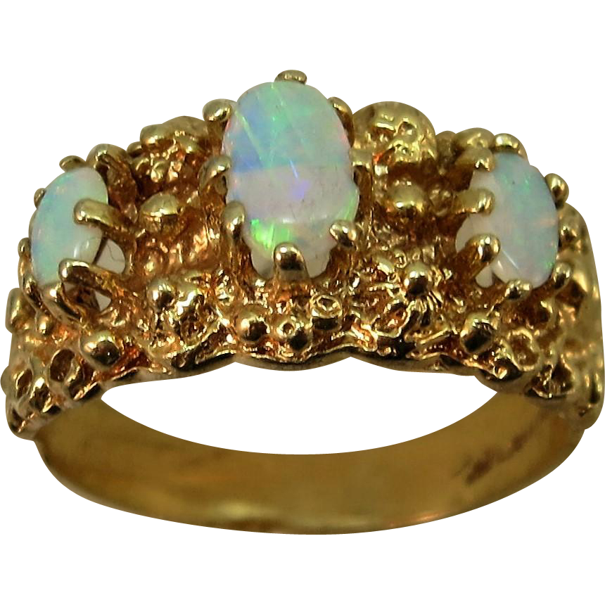 VINTAGE 14k Nugget Three Bright Opal Ring Size 7 1/2