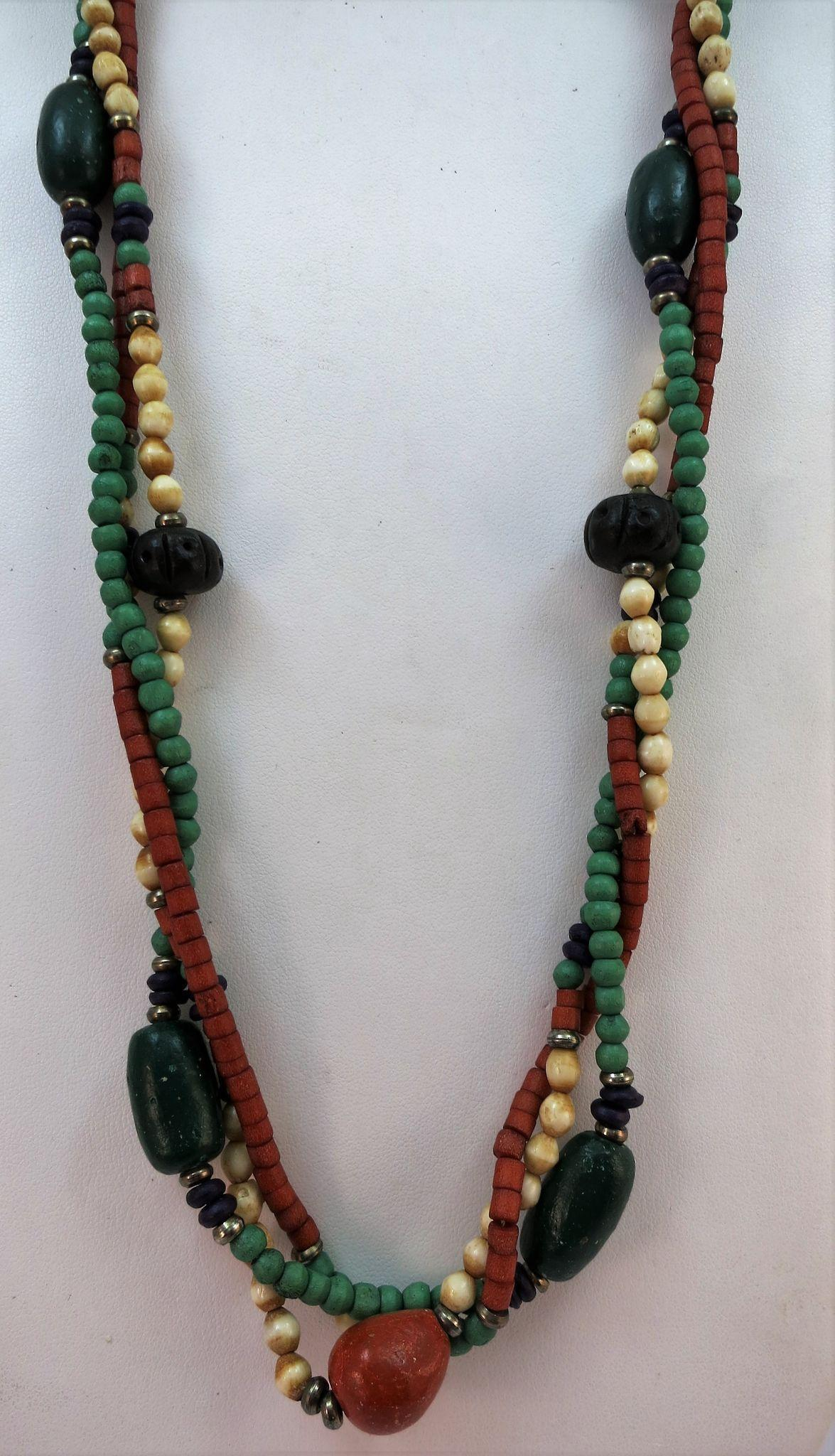 VINTAGE Three Strands of Long Pottery Beads  The Best of BoHo