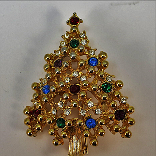 VINTAGE Eisenburg Ice Christmas Tree Brooch   Very Traditional