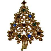 VINTAGE Eisenburg Ice Christmas Tree Brooch   Very Traditional