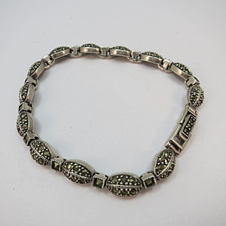 VINTAGE Sterling Bracelet Covered  with Small Marcisite
