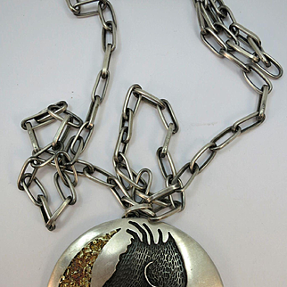 VINTAGE Unique Handcrafted Hopi Overlay Sterling and Gold and Jade Pendant   Hand made Chain 30 inches
