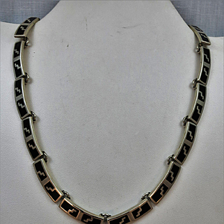 VINTAGE Mexican Silver with Black Choker 16 Inch Stunning