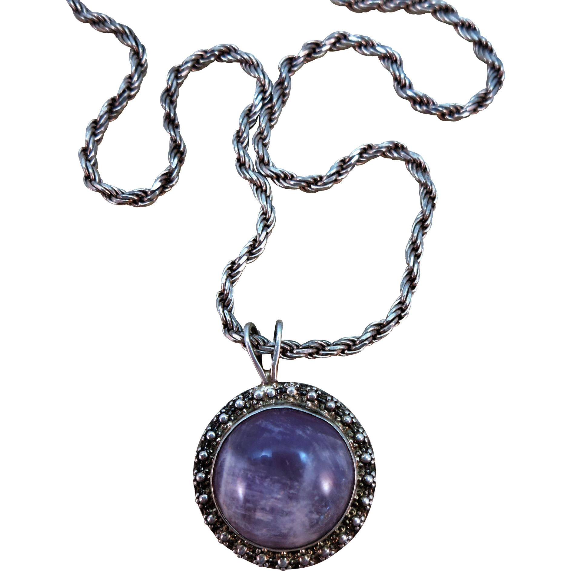 VINTAGE Raw Amethyst Pendant with Super Sterling Chain Mexican Silver  Designer FS