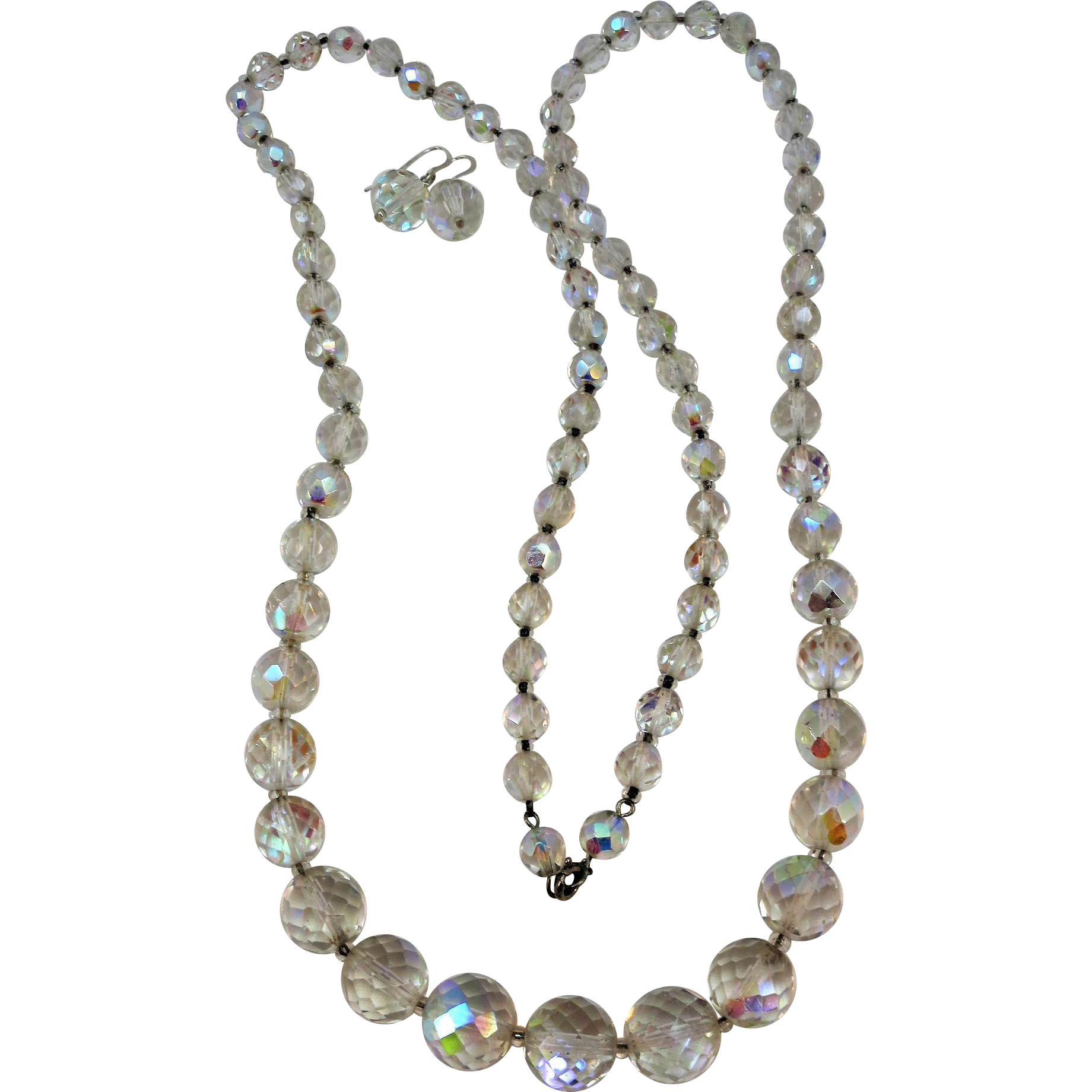 VINTAGE 36 Inch Strand of Faceted Aurora Borealis  Glass Necklace with Dangling Earrings