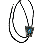 VINTAGE Sterling Overlay Masonic Turquoise Bolo  Tie with Sterling Tips