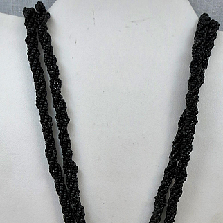 VINTAGE Unusual Flapper Style Black Long Beaded Necklace