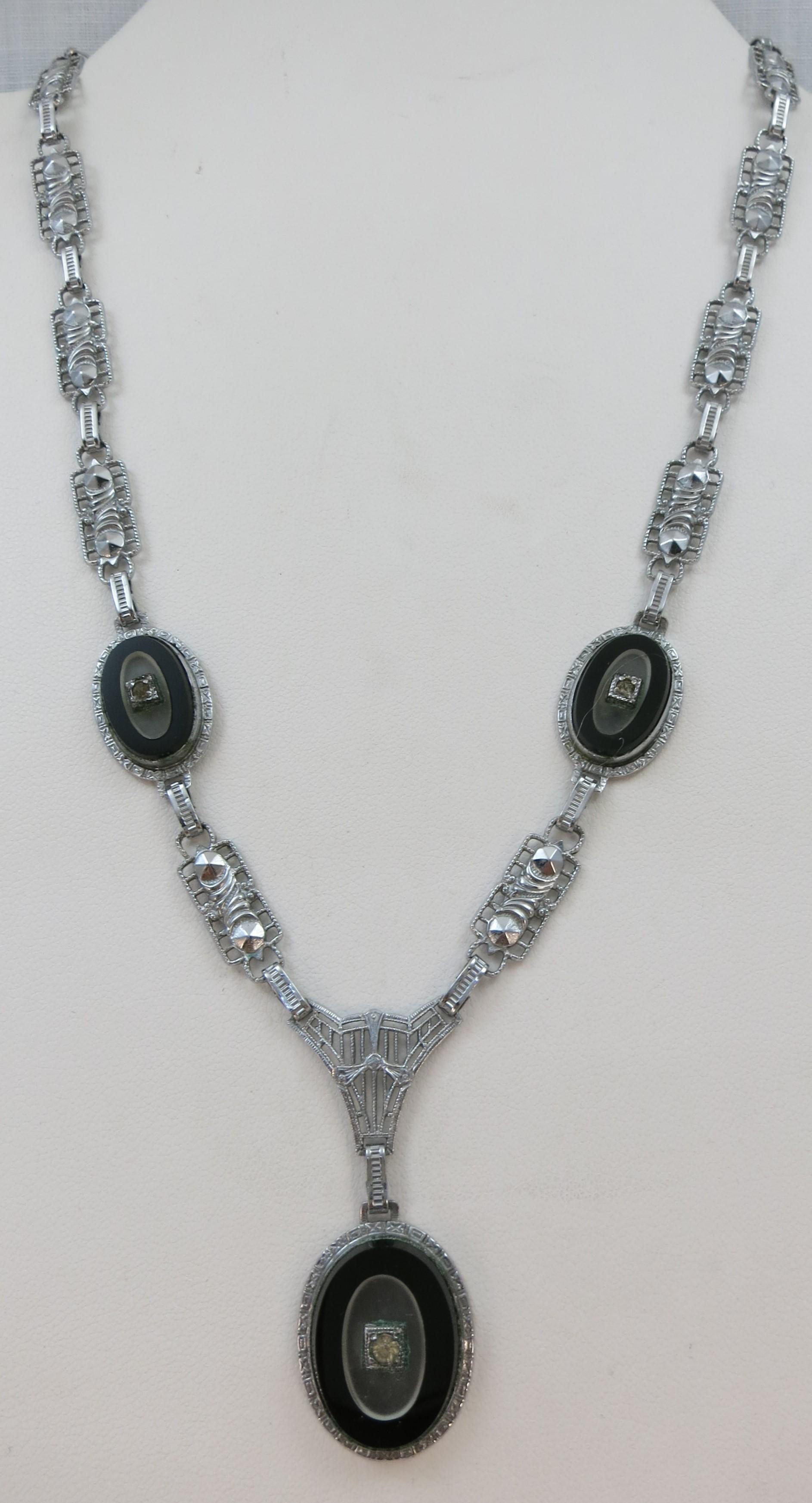 VINTAGE Rhodium Plated Art Deco Black Glass and Rhinestone Necklace  Very Old