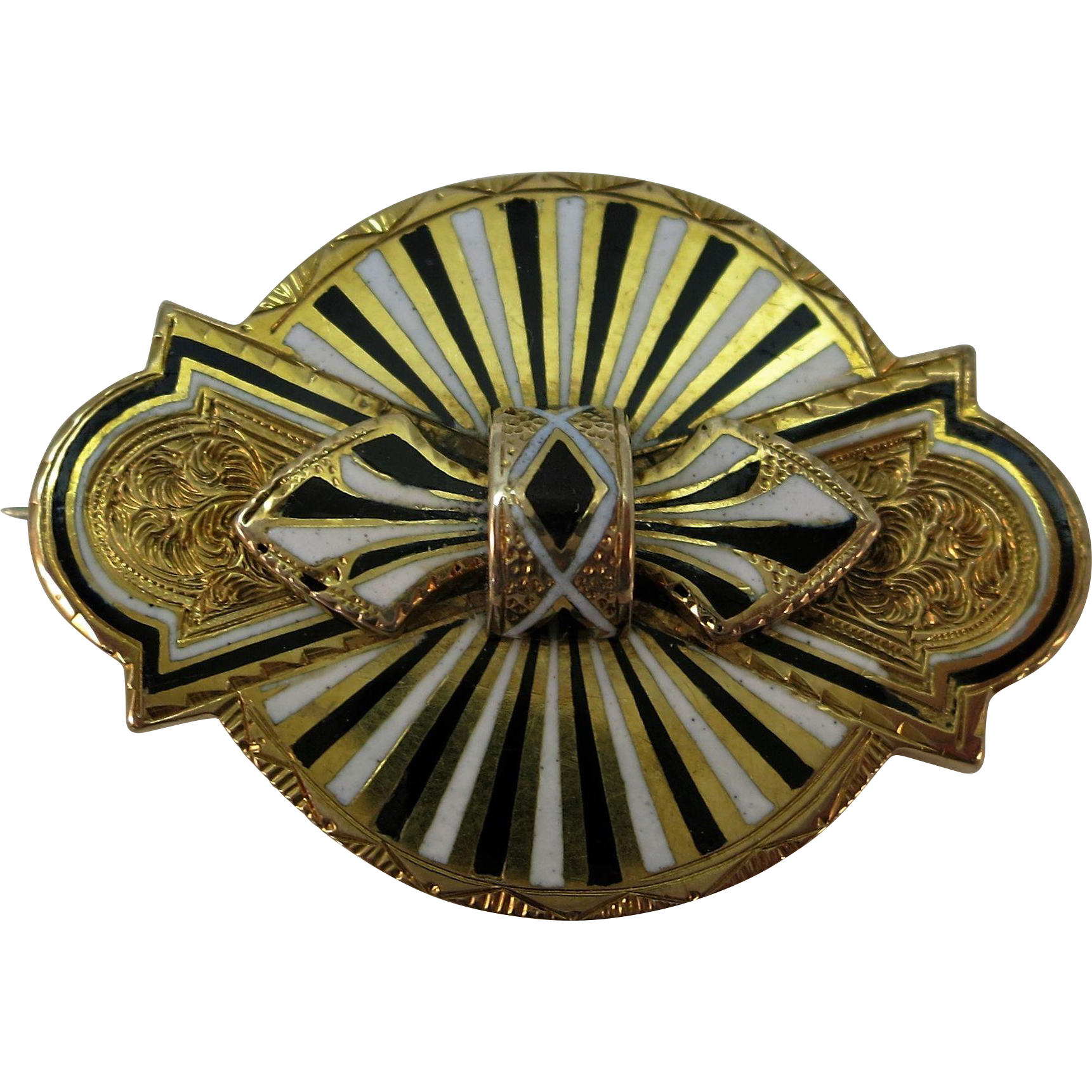 VICTORIAN Small Brooch with Black and White Enameling  1 Inch x 1 1/2