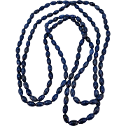 VINTAGE Endless String of Oval Lapis Beads 60 inches