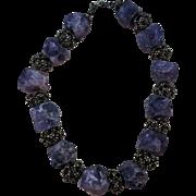 VINTAGE Raw Rock Amethyst Jewel Collar 17 Inch Choker  Stunning