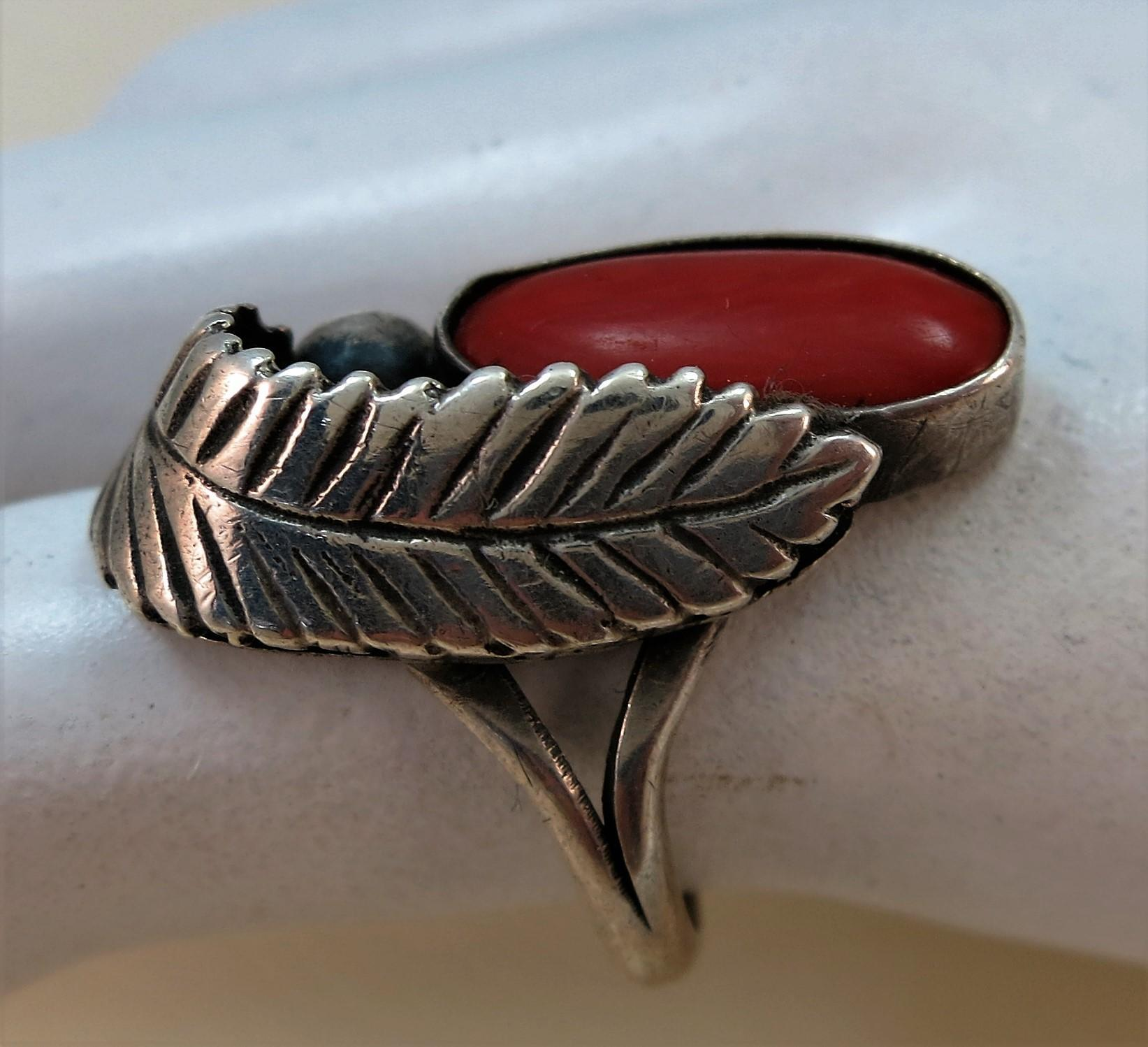 VINTAGE  Sterling and Coral Ring Indian-made  Size 5 1/4