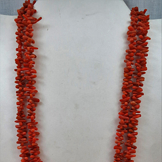 VINTAGE 46 Inch  of Snubbed Coral Necklace  1/4 inch to 1/2 Size.