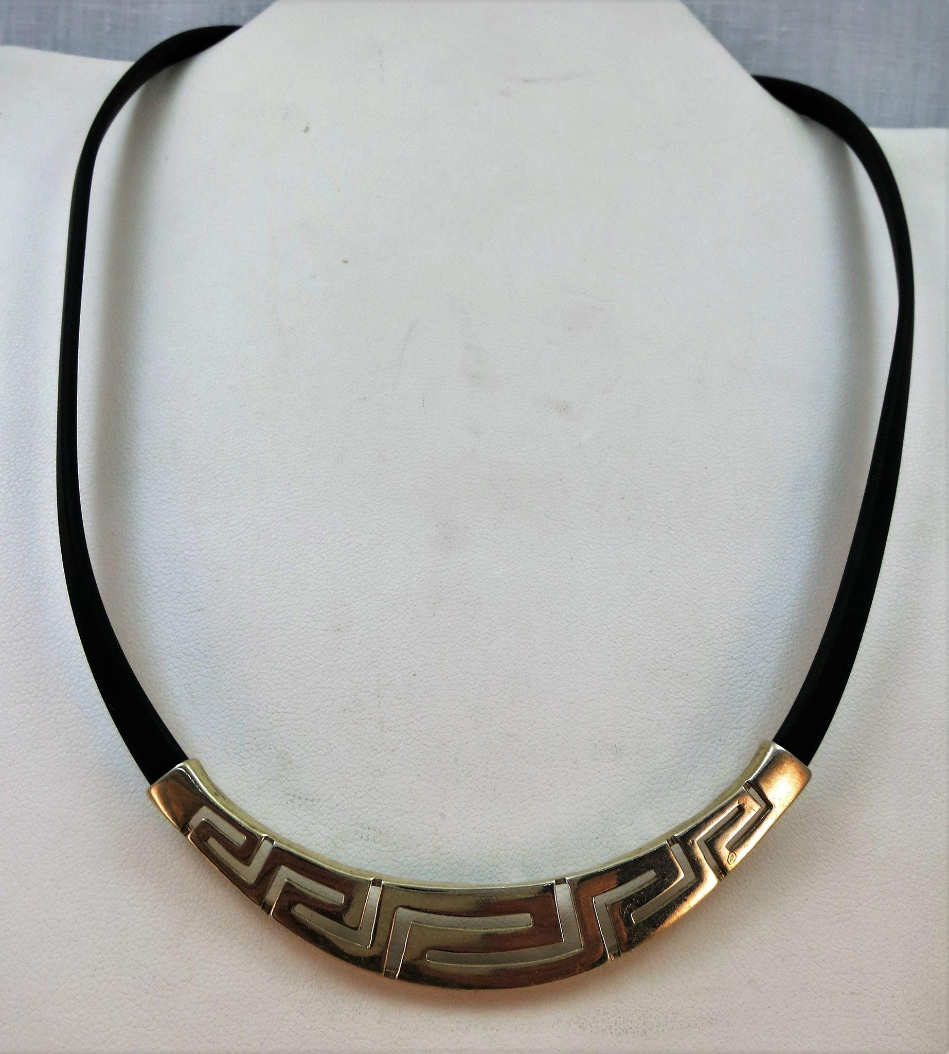 VINTAGE Leather Collar with Sterling Plate and Closure