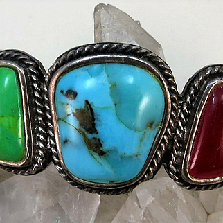 VINTAGE  Large Stone Bracelet Native American Really Neat