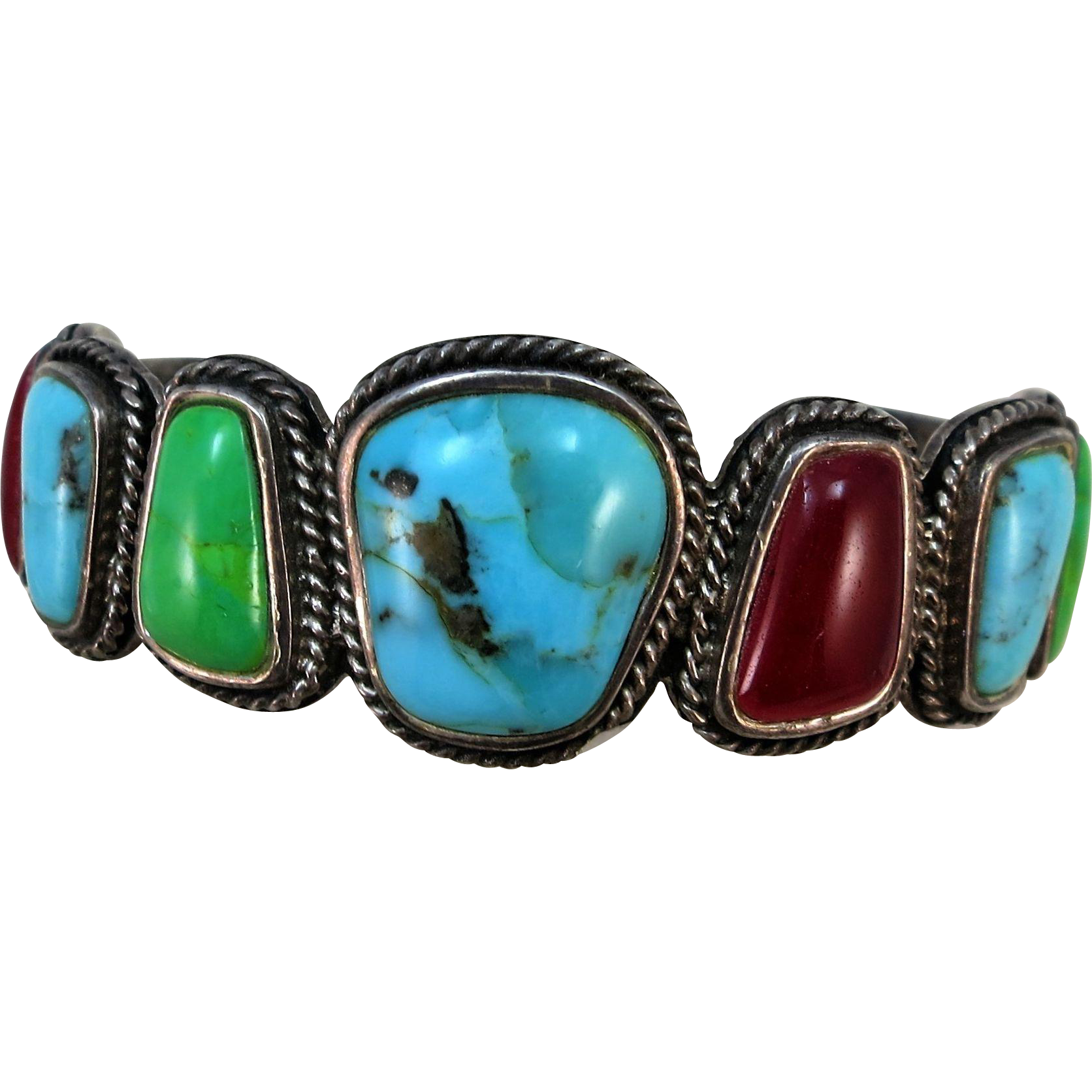 VINTAGE  Large Stone Bracelet Native American Really Neat