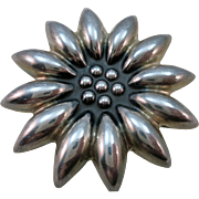 VINTAGE Mexican Silver Sunflower Two Inch Arournd