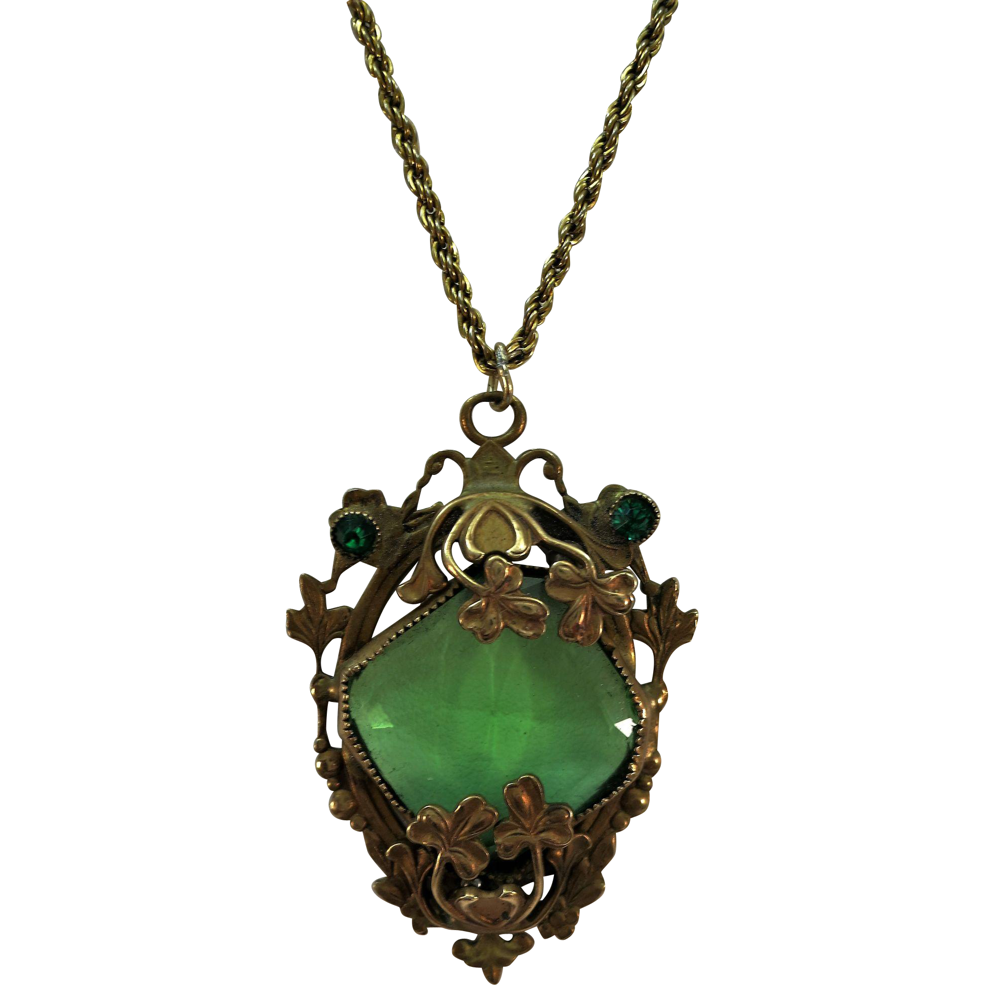VINTAGE Very Old Pendant and Chain  Green Set in Brass