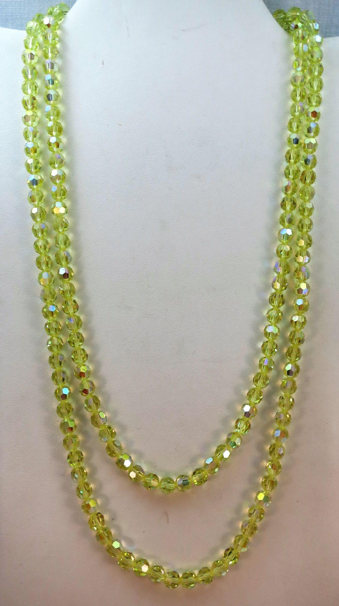 VINTAGE Bright 48 Inch Long Glass Yellow Necklace  Stunning