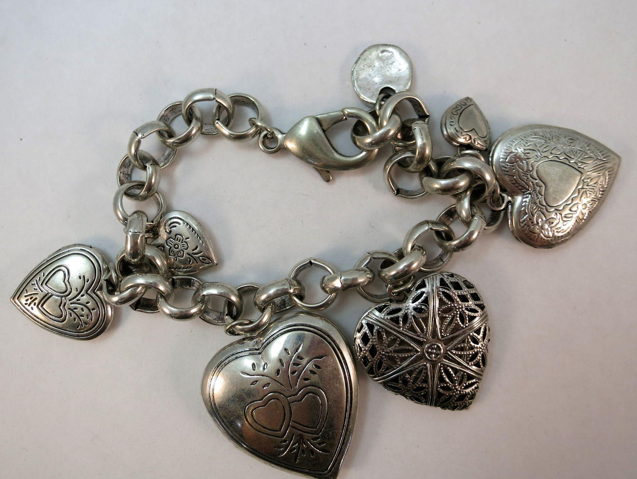 VINTAGE Charm Bracelet with 6 Lockets that Open 7 3/4 Inch Length